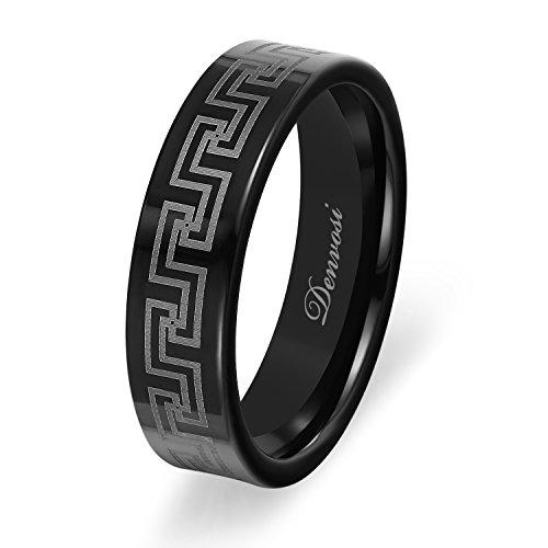 Denvosi Tungsten Carbide Ring for Men 8mm Greek Key Design Matte Brushed Black Surface High Polished Inner face Wedding Band Engagement Anniversary Ring Beveled Edge Comfort Fit Size 14