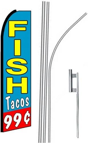 three FISH TACOS 15 Swooper #4 Feather Flags KIT 3