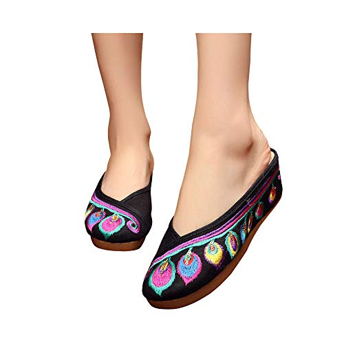 de Plumas de Ocasionales Mujeres Zapatos Sandalias Cuñas Negro Bordados 5cm Zapatillas Lona UqxCwg6