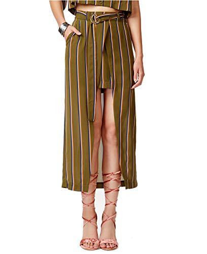 - JOA Womens Striped High-Low Wrap Skirt Green M