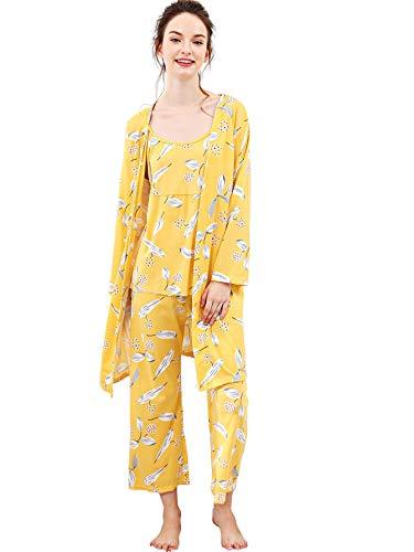 Yellow Long Sleeve Pajamas - SheIn Women's Cami & Pants Pajamas Set with Robe Sleepwear Large Yellow
