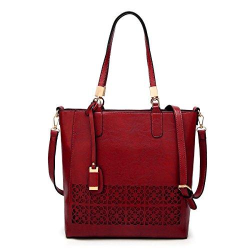 Mn&Sue Women'sVintageFloral Cut-Out Shoulder Bag Office Tote Handbag (Red) -