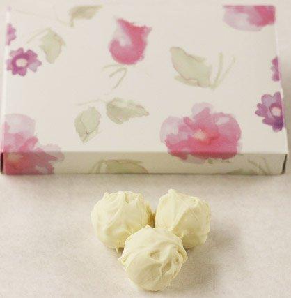 Scott's Cakes White Chocolate Covered Vanilla Fudge Truffles in a 1 Pound Pastel Flower Box