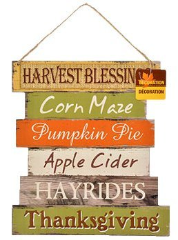 Fall Decoration Hanging Indoor Outdoor Lightweight Welcome Wood Sign - Thanksgiving and Harvest Blessings - Set of 2