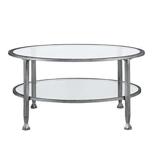 Southern Enterprises Jaymes Round Glass Cocktail Table