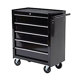 "HomCom 24"" Rolling Tool Cabinet Garage Cart with 5 Sliding Drawers"