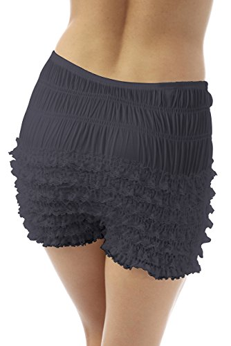 Malco Modes Womens Sexy Ruffle Panties Tanga Dance Bloomers Sissy Booty Shorts Natural Beige,Small