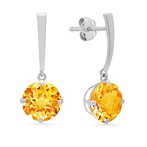 14k White Gold Solitaire Round-Cut Citrine Drop Earrings (8mm) ()