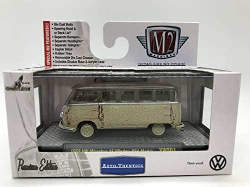 M2 Machines Auto-Thentics 1958 VW Microbus 15 Window USA Model 1:64 Scale VWS01 14-55 Cream/Chocolate Details Like NO Other! Over 42 Parts