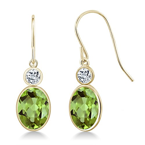 Peridot Earrings Stone (2.94 Ct Oval Green Peridot and White Topaz Gemstone Birthstone 14K Yellow Gold Earrings)
