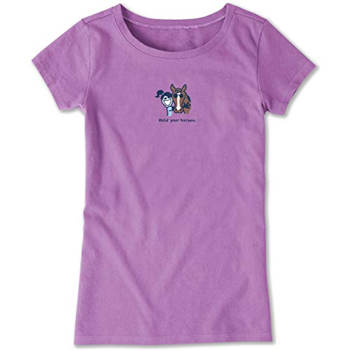 Life is Good Girls Vintage Crusher Tee Hold Your Horses, Happy Grape, X-Large