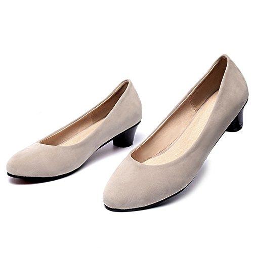 Chaussures Beige Taille Peu Enfiler Bloc A Femme Basse Mode TAOFFEN wqzFXOx