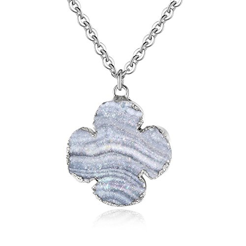 TOUGHARD Minimalist Handmade Natural Agate Druzy Charm Pendant Necklace, Delicate Jewelry for Girls Women (Silver)