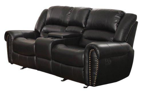 Homelegance 9668BLK-2 Double Glider Reclining Loveseat with Center Console Black Bonded Leather  sc 1 st  Amazon.com & Dual Reclining Sofas: Amazon.com islam-shia.org