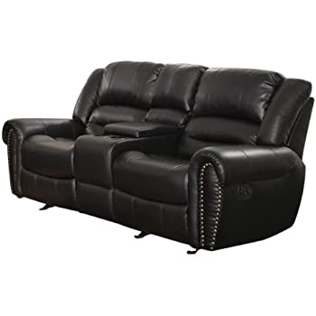 Homelegance 9668BLK-2 Double Glider Reclining Loveseat with Center Console Black Bonded Leather  sc 1 st  Amazon.com : double reclining loveseat - islam-shia.org