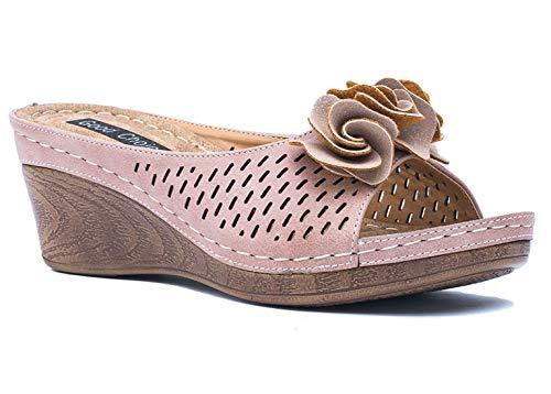 Gc Shoes Women's Sydney Rosette Slide Wedge Sandals (6 B(M) US, Blush JLT)