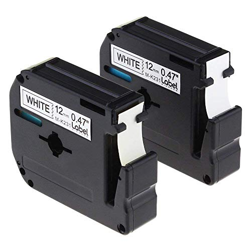 Label KINGDOM Compatible with Brother P-Touch M Series M231 MK231 M-K231 Label Tape, 12mm (1/2 Inch) Width X 8m (26.2ft) Length, Black on White, Use for PT-65 PT-90 Label Maker, 2-Pack