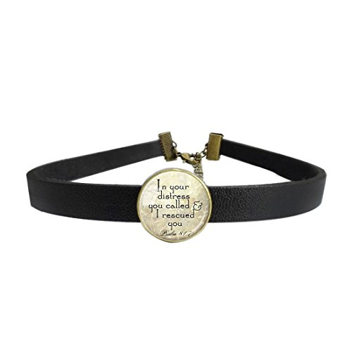 LooPoP Womens Gothic Leather Choker Collar Christian Scripture