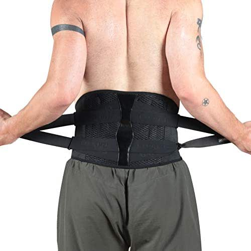 OMECON Back Brace Belt - Lumbar Support Belt Relief for Back Pain, Lumbar Disc Protrusion, Adjustable Pull Straps, Breathable Fabric, Compression Belt for Men and Women