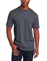 Heavyweight 6.75 ounce short sleeve pocket tee with tagless back neck label for comfort.