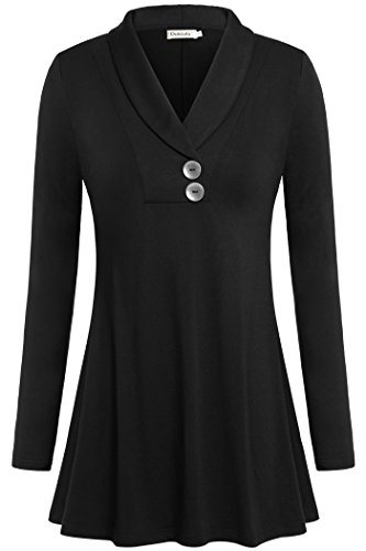 (Ouncuty 1X Tunics for Women, Womens Cute Lovely Charming Gorgeous Office Vneck Button Down Tunic Rayon 70s Empire Waist Maternity Shirt Fall Winter Swing Blouses for Cardigan Plus Size Black)