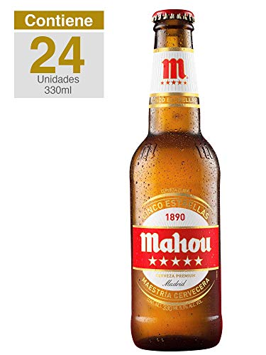 Mahou 5 estrellas, Lager Tipo Pilsner, caja 24 botellas, España