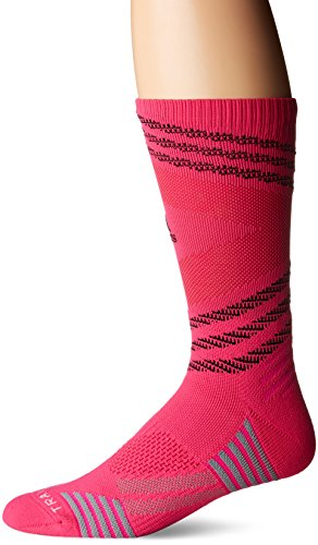 - adidas Speed Mesh Basketball/Football Team Crew Socks (1-Pack), Shock Pink/Black/Blast Pink/Light Onix, Medium