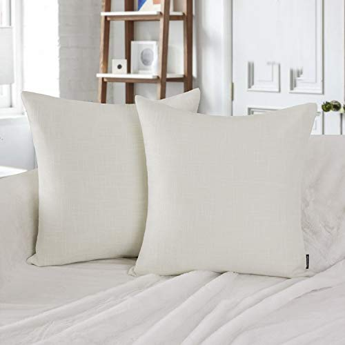 Phantoscope Decorative Set of 2 Textural Faux Linen Series Throw Pillow Case Cushion Cover Off-White 22