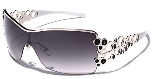 Oversized Women's Fashion Aviator Shield - Sunglasses Cheap White