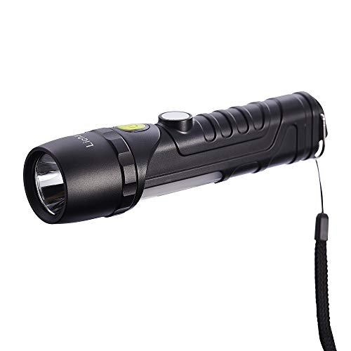 Lichamp Flashlight Led, 8 Mode Tactical Flashlighting with Power Magnet and Rotary Hook, CREE XTE LED IPX 7 Water-Proof Work Light, Portable Emergency Lamp Torch for Outdoor Camping and Working