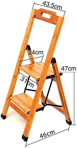GYX Escalera de pie, taburete plegable de 2 escalones La escalera multifunción se puede utilizar para el soporte de flores de madera de bambú, alto: 77 cm: Amazon.es: Bricolaje y herramientas