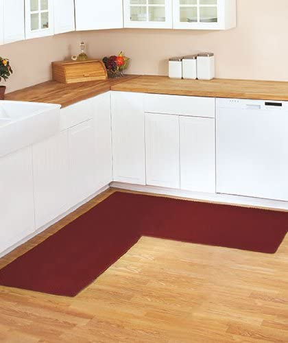 """68"""" X 68"""" Berber Corner Runners 4 Color Available L-Shaped Non Slip Textured New (Burgundy)"""