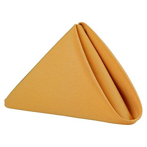 Sigmatex - Lanier Textiles 100% Murata Jet Spun (MJS) Polyester Cloth Napkins, 20 x 20 Finished Size, 1 Dozen (Gold)