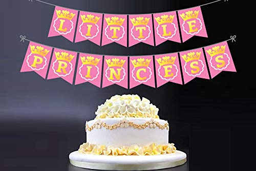 Ideas from Boston-Little Princess Birthday Party Banner,Happy birthday banner pink flags, Printed Gold letters Party decorations, Girl Baby Shower Royal Little Princess Born Crown.]()