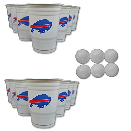 Tailgate Kit Bills Buffalo - Siskiyou/Sport Mania NFL Fan Shop Beer Pong Set. Rep Your Favorite Team with The Classic Game of Beer Pong at Home or at The Tailgate Party - Comes with 22 Cups and 6 Ping Pong Balls (Buffalo Bills)