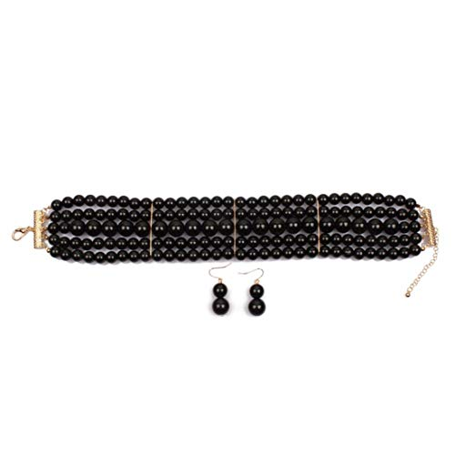Ufraky Women Elegant Multi Strand Simulated Pearl Choker Necklaces and Earring Set (Black)
