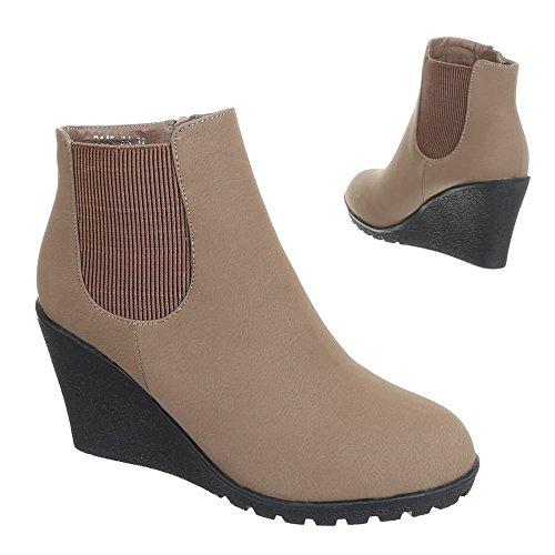 Ital-Design Damen Schuhe Keilabsatz Plateau Keilstiefeletten Stiefeletten Keilabsatz/Wedge Hellbraun 2145-KA