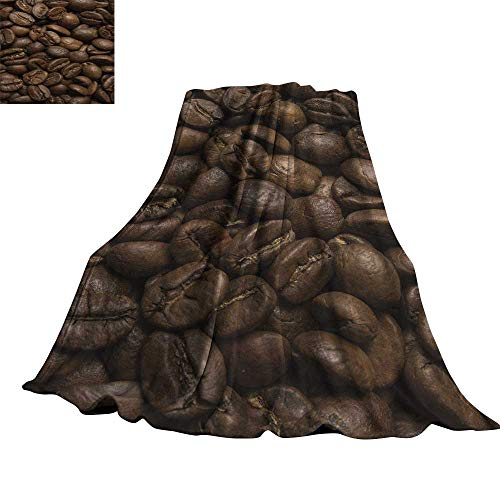 WinfreyDecor Coffee Faux Fur Throw Blanket Flavored Roasted Arabica Beans Ready for Brew Fresh Drink of Mocha for Robust Breakfast 50