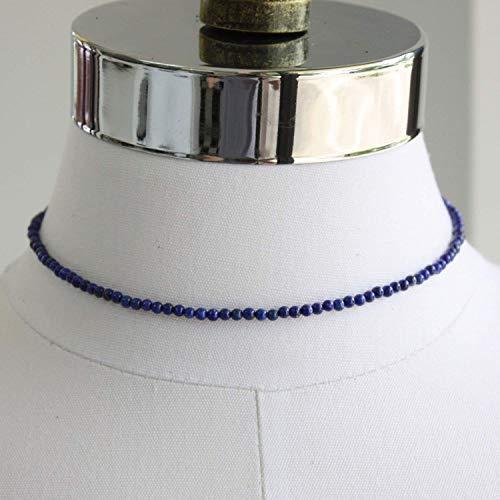 Lapis Lazuli Choker, Small 3mm Beads, Adjustable 14-15 Inches ()