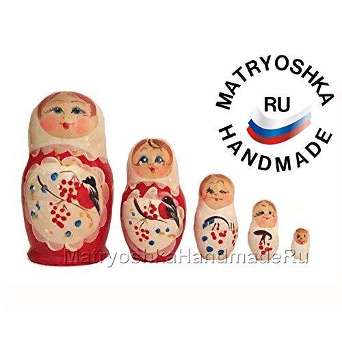 Matryoshka Russian nesting doll for bird lover, original hand painted wooden stack doll from Russia (Cardinal Bird Nesting)