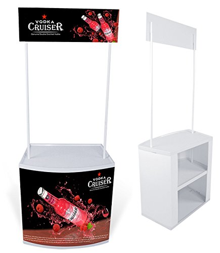 Display Factory USA Promotional Table Trade Show Counter with Header and Carrying Bag (White)