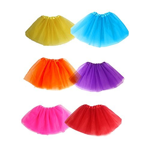Koogel 6 Pcs Multicolor Tutu Skirts,3-Layer Ballet Tutus