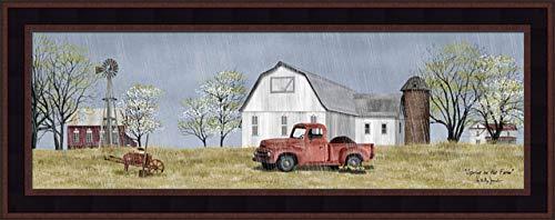 Home Cabin Décor 'Spring On The Farm' by Billy Jacobs 11x27 Rain Flowers Dirt Old Truck Barn Silo Windmill Wheel Barrow Budding Trees Seasons Framed Art Print Picture ()