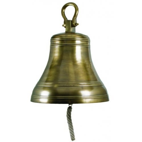 Extra Large Nautical Hanging Ship Bell, Antique Brass, 20-inch, Ceiling Roof Post Mounted