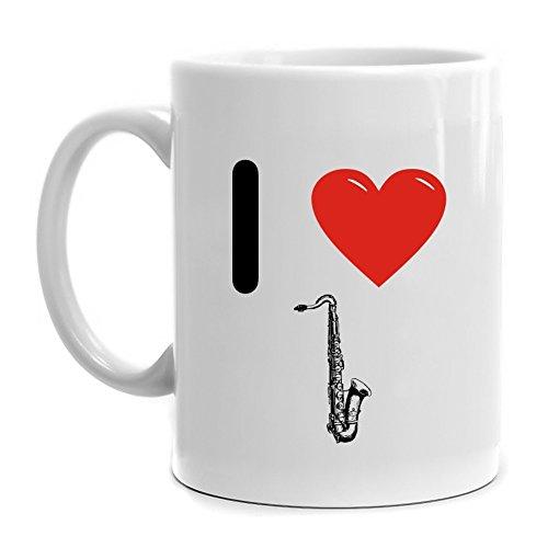 Eddany I love Tenor Saxophone Silhouette Mug