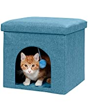 Furhaven Pet Dog Bed Furniture   Ottoman Footstool Collapsible Living Room Pet House Condo for Cats & Small Dogs - Available in Multiple Colors & Sizes