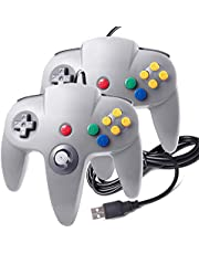 suily Classic N64 Controller USB Gamepad Joystick mit Kabel für Windows PC Mac (2 Pack, Grau)