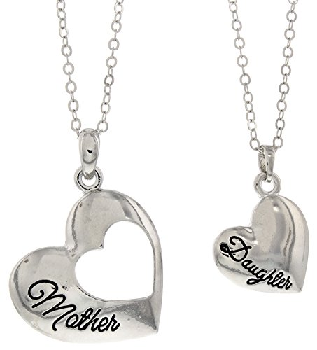 Mother daughter necklace silver tone heart pendant 2 piece necklace mother daughter necklace aloadofball Choice Image