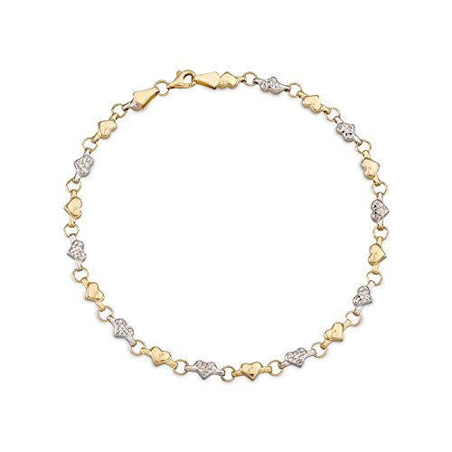 Ross-Simons 14kt Two-Tone Gold Heart Anklet