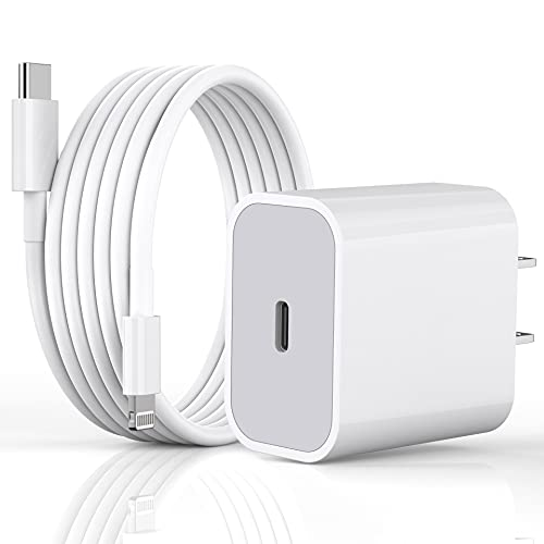 Fast Charger iPhone, iPhone Lightning Charger [Apple MFi Certified] 20W PD Type C Power Wall Charger with USB C to Lightning Cable Compatible iPhone 12/12 Pro Max/11/11 Pro Max/XR/X, iPad and More